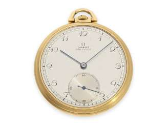 Pocket watch: fine Art Deco Frackuhr of Omega, 18K Gold, 30s