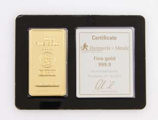 1 - gold bullion 100g gold bars, embossed, manufacturer, Heimerle + Meule