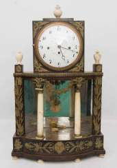 GRANDFATHER CLOCK WITH ALABASTER COLUMNS