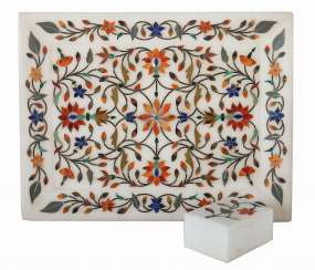 Pietra Dura Tray and Can India