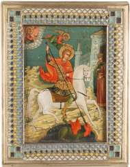 MINIATURE ICON WITH SAINT GEORGE THE DRAGON SLAYER, WITH ENAMELLED BASMA