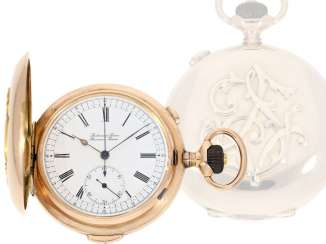 Pocket watch: very high quality and intricate 14K rose gold Savonnette minute repeater and Chronograph, Audemars Frères, Brassus & Genève, made for the Russian market, CA. 1910