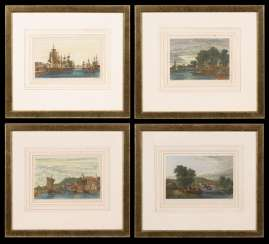 4 English landscapes, with boats and