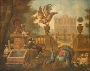 PAIR OF PAINTINGS: DOG, RESPECTIVELY. FOX WITH BIRDS IN FRONT OF AN ARCHITECTURAL BACKDROP