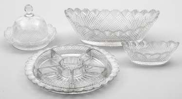 Four crystal glass objects in Victorian style