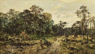 Forest landscape with resting forest worker