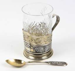 Tea glass holder with spoon - silver