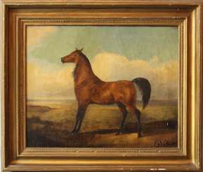 Emil Volkkers (1831-1905) attributed, Horse, oil canvas, framed