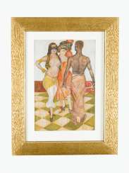 Holub around 1920, Carneval water colour on paper signed bottom left framed under glass