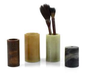 Three brush Cup, two paint brushes, a tray and lid box made of stone