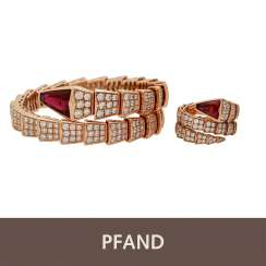 PLANE AUCTION - BULGARI Flex Bangle Rose Gold, Pink Tourmaline Brill