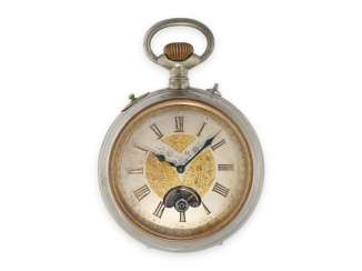 Pocket watch: large, rare pocket watch with visible balance wheel and a reel game factory, Patent Brevete 8605, Swiss CA. 1890