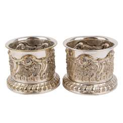 GERMAN two bottle holders, silver-plated,