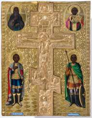 Big Staurotheke icon with saints on a gold background