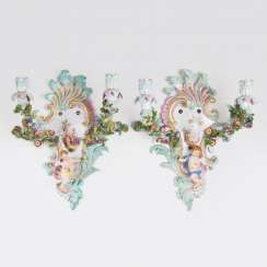 Pair of two-flame wall appliques with putti