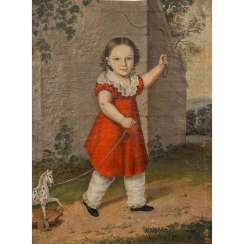 "19th CENTURY PORTRAITIST ""Portrait of a boy with a play horse"""