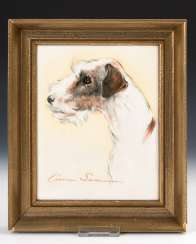 Porcelain painting: rough-hair Terrier, ROSE
