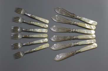 Cutlery set for fish. Mother-of-pearl.