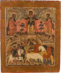 LARGE-FORMAT ICON WITH THE SAINTS FLORUS AND LAURUS Russia