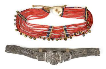 Silver Belt, Coral Necklace,