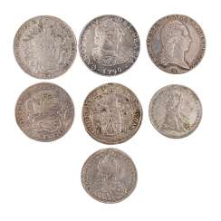 Highly exciting 7-piece collection of hist. Coins, 17./18. Century-