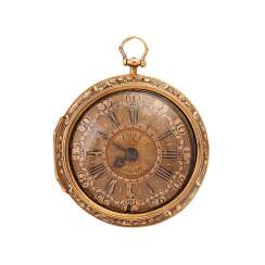 Pocket watch, ENGLAND, C. 17./18. Century. Case and protective case Gold 18K,