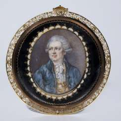 Portrait miniature: Rococo gentleman with wig and jabot