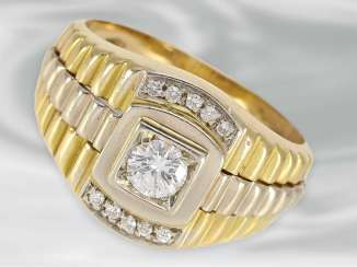 Ring: heavy Golden two-tone men's ring with very fine brilliant-cut diamonds of approximately 0.44 ct, 18K Gold