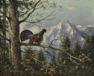 Grouse in mountain landscape , Scheuerer, Otto in 1862, Munich in 1934, ibid.