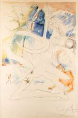 SALVADOR DALÍ, 1904, Figueres, Girona - 1989 ibid. THE UNICORN LASER DESTROYS THE HORNS OF THE COSMIC RHINOCEROS (1974)