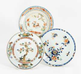 Three plates with deer, peony, and pine