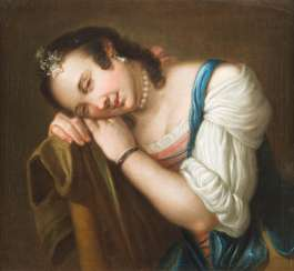 RESTING GIRL WITH EARRING AND PEARL NECKLACE