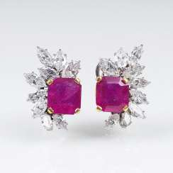 Pair of fine diamond clip earrings with natural rubies
