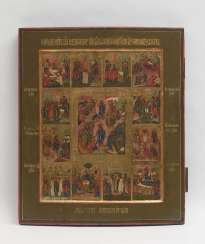 Holiday icon WITH RESURRECTION AND descent into HELL of CHRIST, Russia, 19th century. Century
