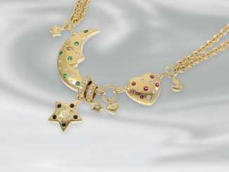Chain/necklace unusual necklace with a half moon, heart and star motifs, studded with rubies, emeralds and brilliant-cut diamonds, 18K Gold