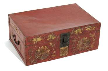Red leather chest with a stylized 'Shou'pattern in Gold