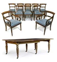 Large extension table with ten chairs