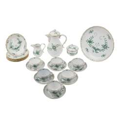 MEISSEN coffee service for 6 persons, 'Indian green', 2. Choice, 20. Century.