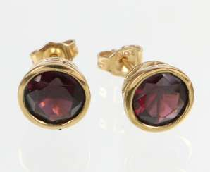 Rhodolite Earrings - Yellow Gold 333