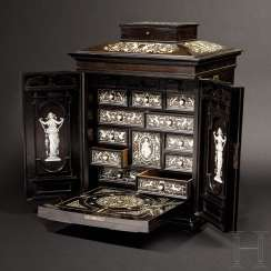 Masterly Cabinet in the Renaissance style, signed Augostino Colli, Cortina d'ampezzo, dated 1894
