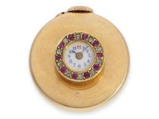Button-hole watch: extremely rare Knopflochuhr in 18K Gold with diamond and ruby trim, hallmarked