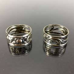 Two Napkin Rings. Silver 835.