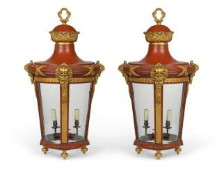 A PAIR OF FRENCH PARCEL-GILT AND RED-LACQUERED TOLE LANTERNS