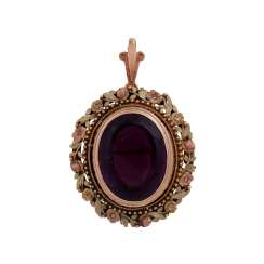 Pendant/brooch with oval Amethyst of approx 22 ct