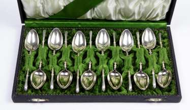 Set of coffee spoons with Tierhufe - silver 800