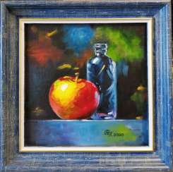 """Still life with an apple and a blue bottle""."