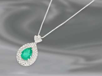 Chain/necklace: white gold necklace chain precious vintage emerald/brilliant-gold forged pendant, 18K white gold