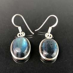 Earrings with labradorite, silver.