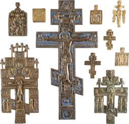 FIVE CRUCIFIXES AND FIVE ICONS WITH SELECTED SAINTS