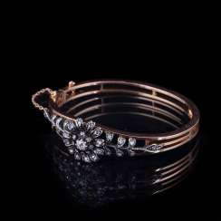 Gold bracelet with old-cut diamond and diamonds